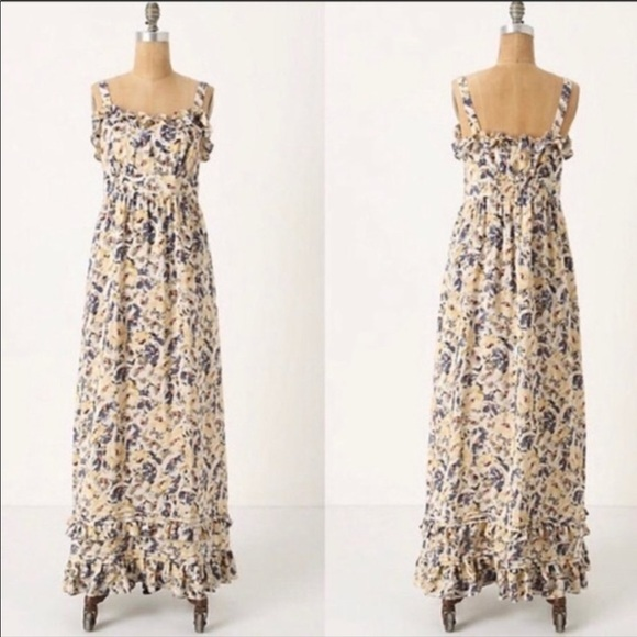Moulinette Soeurs Abstract Floral Silk Maxi Dress
